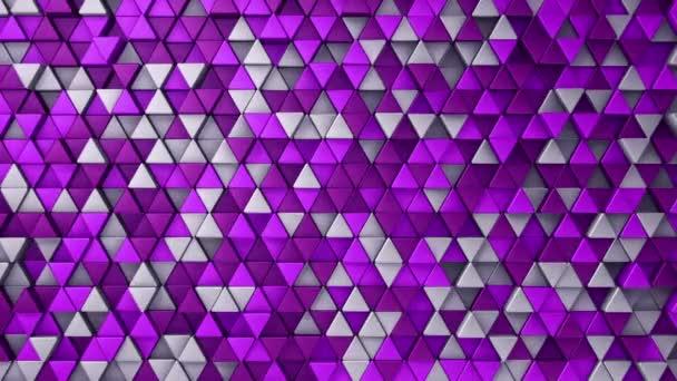 Abstraktní technologické zázemí s animací vlnové mozaiky fialových trojúhelníků, Animace bezešvé smyčky.
