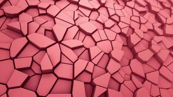 Technologické zázemí s animací vlnové mozaiky z červených mnohoúhelníků, Animace bezešvé smyčky