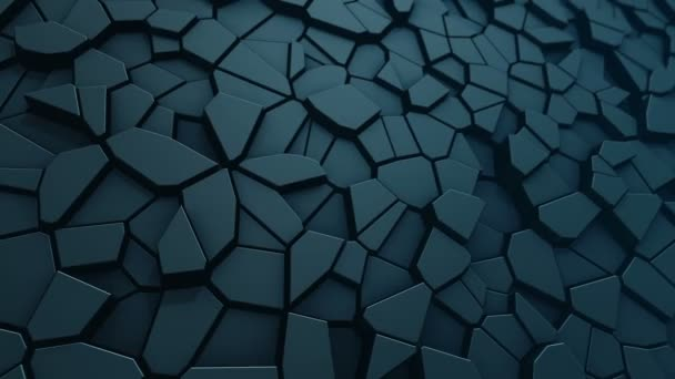 Technological background with animation of wave mosaic of turquoise polygons, Animation of seamless loop