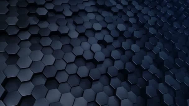 Abstrakter technologischer Hintergrund mit Animation des Wellenmosaiks blauer Sechsecke, Animation einer nahtlosen Schleife.
