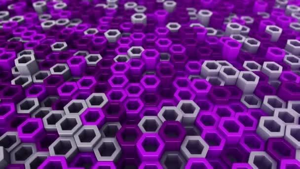 Abstrakter technologischer Hintergrund mit Animation eines Wellenmosaiks aus violetten Sechsecken, Animation einer nahtlosen Schleife.