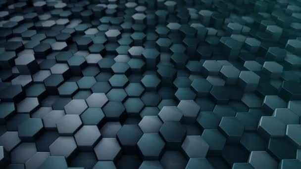 abstrakter technologischer Hintergrund mit Animation eines Wellenmosaiks aus türkisfarbenen Sechsecken, Animation einer nahtlosen Schleife.