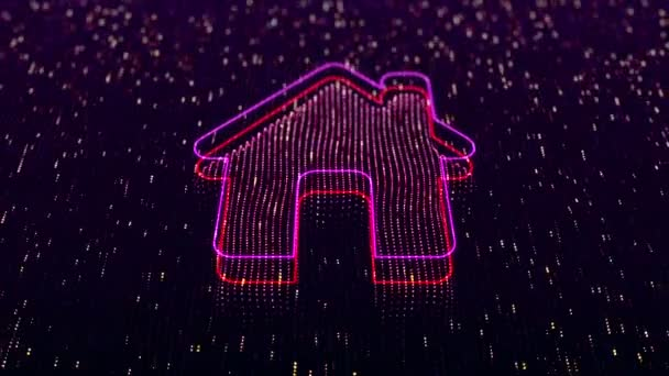 Technological background with shiny home icon on dark background. Seamless loop