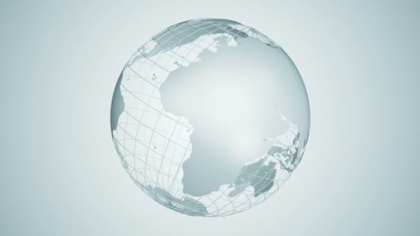 Abstraktní pozadí s rotací šedé Země Globe ze skla, Animace bezešvé smyčky