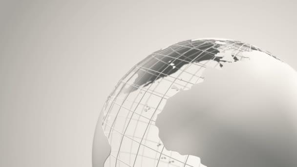 abstrakter Hintergrund mit Drehung der Erdkugel aus Glas, Animation einer Nahtlosschleife