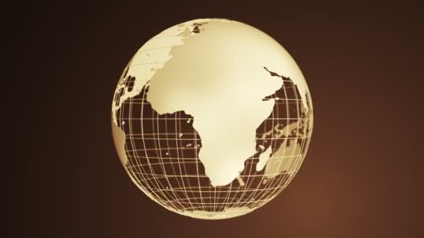 Abstract brown background with golden rotation of grey Earth Globe from glass, Animation of seamless loop