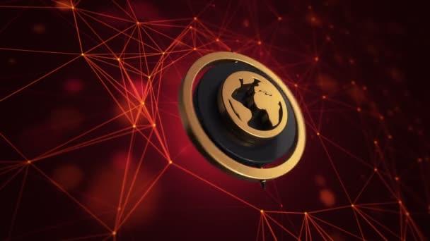 3D-Animationsfilm von Globus-Symbol mit rotierendem Kreis auf Technologie-Hintergrund, nahtlose Schleife