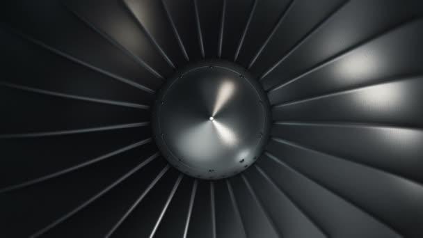 Animace rotujícího tryskového motoru s turbínou. Animace bezešvé smyčky.