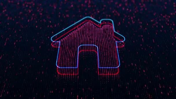 Technologické zázemí s lesklou domácí ikonou na tmavém pozadí. Bezešvé smyčky