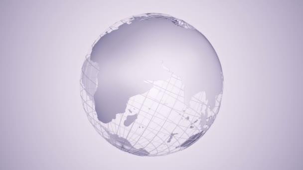 Abstraktní fialové pozadí s rotací šedé Země Globe ze skla, Animace bezešvé smyčky