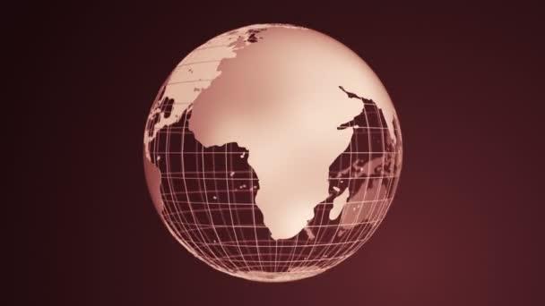 Abstraktní tmavě červené pozadí s rotací Země Globe ze skla, Animace bezešvé smyčky