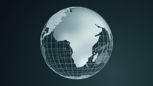 Abstraktní tmavé pozadí s rotací šedé Země Globe ze skla, Animace bezešvé smyčky