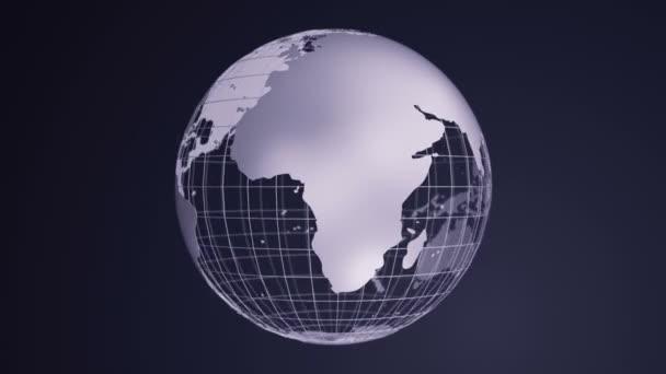 Absztrakt háttér forgatásával szürke Earth Globe üvegből, Animáció zökkenőmentes hurok