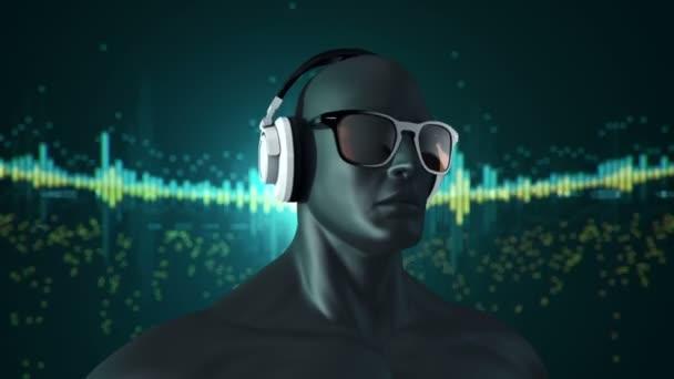abstraktní 3D model člověka v brýlích a sluchátkách poslech hudby, Animace bezešvé smyčky