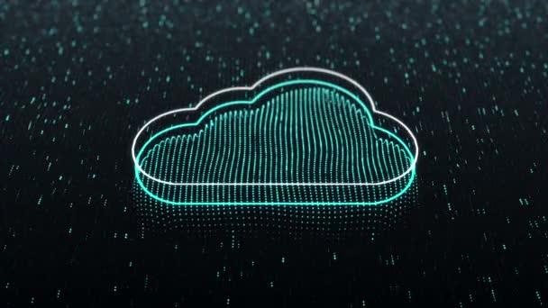 Technológiai háttér fényes felhő ikon sötét háttérrel. Zökkenőmentes hurok