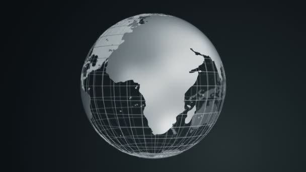 Abstract dark background with rotation of grey Earth Globe from glass, Animation of seamless loop