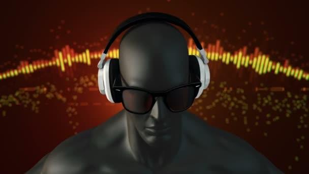 elvont fekete 3D-s modell az emberi szemüveg és fejhallgató zenét hallgat a piros háttér, Animation of zökkenőmentes hurok
