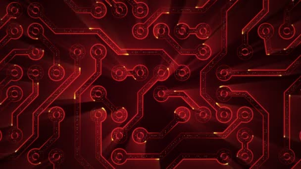 Abstract technology background with animation of circuit electric signal particles and red light stripes. Animation of seamless loop.