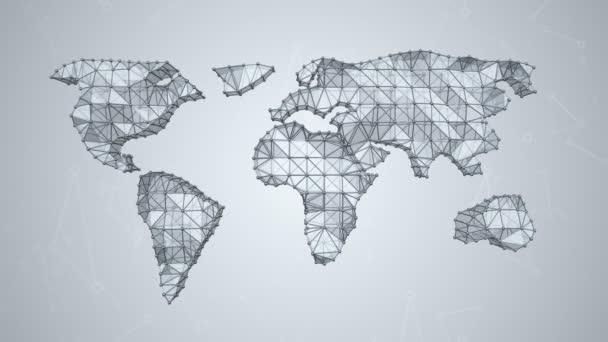 abstrakte 3D-Animation der Weltkarte auf grauem Hintergrund mit Quadraten und Dreiecken, Animation einer nahtlosen Schleife