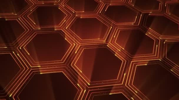 Abstraktní technologické zázemí s animací elektrických signálních částic a oranžových světelných pruhů. Animace bezešvé smyčky.