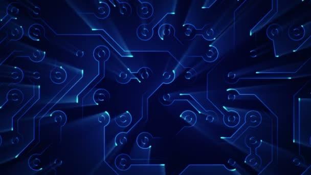Absztrakt technológiai háttér animációs áramkör elektromos jel részecskék és kék fénycsíkok. Zökkenőmentes hurkok animációja.