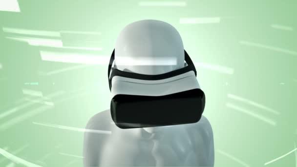 Animation des Menschen mit vr-Headset im abstrakten Raum mit Partikeln und Daten. Virtuelle Realität und technologische Industrie. Animation einer nahtlosen Schleife.