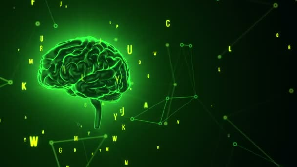 Animation of rotation green human brain with flying data around on grey background. Animation of seamless loop