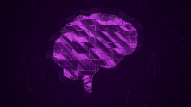 Absztrakt háttér animációs szimbólum az agy fém háló. Zökkenőmentes hurkok animációja.