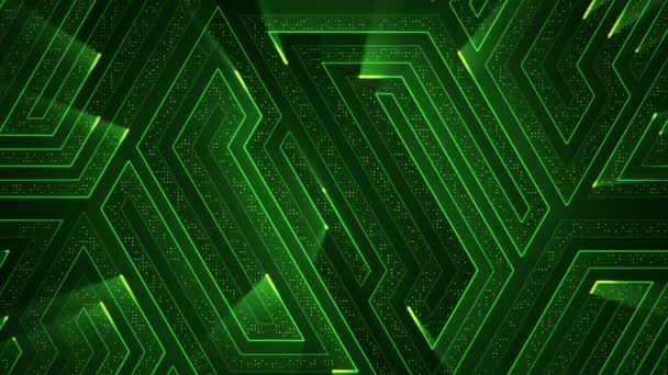 geometrical background with stripes and particles. Animation of circuit electric signal with green shine. Animation of seamless loop.