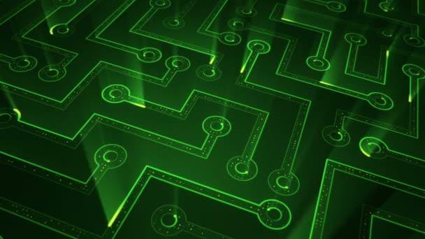 Absztrakt technológiai háttér animációs áramkör elektromos jel részecskék és zöld fény csíkok. Zökkenőmentes hurkok animációja.