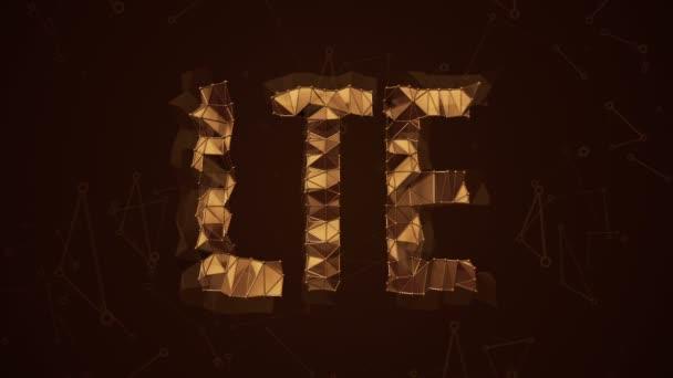 Abstrakter Hintergrund mit Animationswort LTE aus metallischem Netz. Animation einer nahtlosen Schleife.