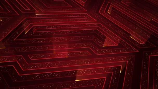 Absztrakt technológiai háttér animációs áramkör elektromos jel részecskék és piros fénycsíkok. Zökkenőmentes hurkok animációja.