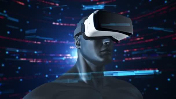 Animation des Menschen mit Vr Headset im abstrakten Raum mit Partikeln und Daten. Virtuelle Realität und technologische Industrie. Animation einer nahtlosen Schleife.