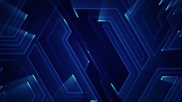 geometriai háttér csíkokkal és részecskékkel. Animáció áramkör elektromos jel kék fény. Zökkenőmentes hurkok animációja.