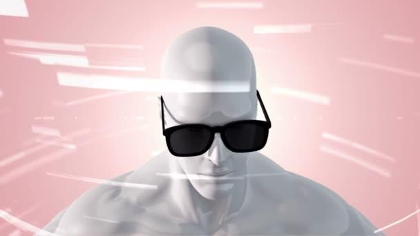 Animation des Menschen mit Vr-Brille im abstrakten Raum mit Partikeln und Daten. Virtuelle Realität und technologische Industrie. Animation einer nahtlosen Schleife.