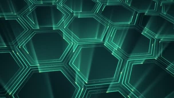 Abstraktní technologické zázemí s animací elektrických signálních částic a zelených světelných pruhů. Animace bezešvé smyčky.