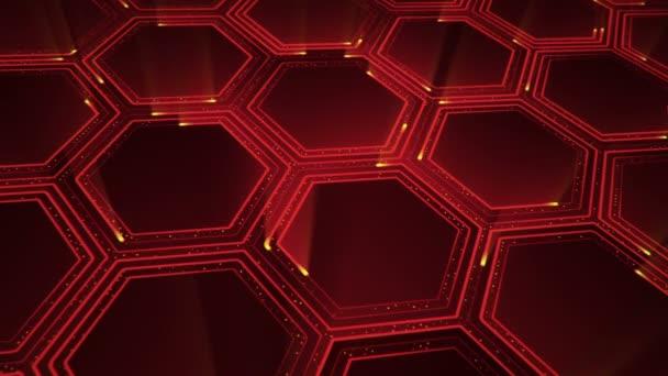 Abstraktní technologické zázemí s animací elektrických signálních částic a červených pruhů. Animace bezešvé smyčky.