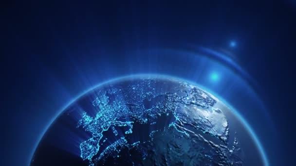 Abstraktní pozadí s rotací šedé Země Globe, Animace bezešvé smyčky