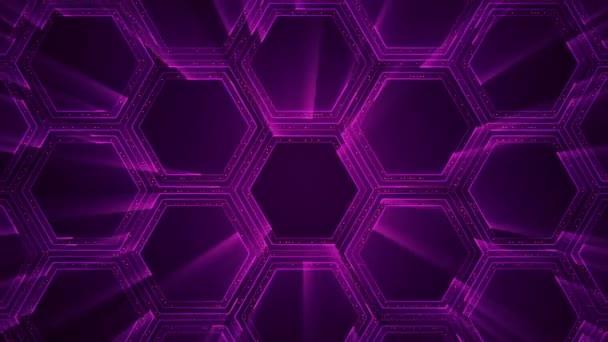 abstrakte Technologie Hintergrund mit Animation von elektrischen Signalpartikeln und lila Lichtstreifen. Animation einer nahtlosen Schleife.