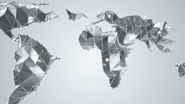 Animation of abstract earth map from polygonal shape and spherical vertices and lines. Animation of seamless loop.