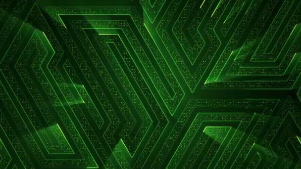 geometriai háttér csíkokkal és részecskékkel. Animáció áramkör elektromos jel zöld fény. Zökkenőmentes hurkok animációja.