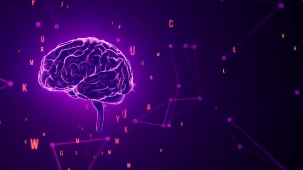 Animation of rotation purple human brain with flying data around on grey background. Animation of seamless loop