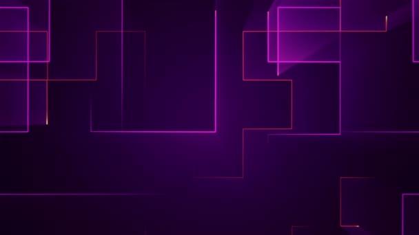 geometrické pozadí s pruhy a částicemi. Animace obvodového elektrického signálu s purpurovým leskem. Animace bezešvé smyčky.