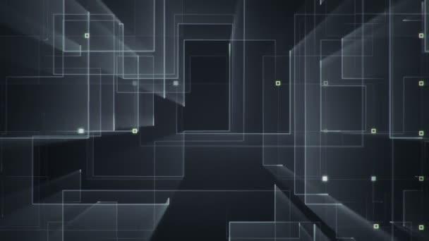 geometriai háttér csíkokkal és részecskékkel. Animáció áramkör elektromos jel szürke fényt. Zökkenőmentes hurkok animációja.