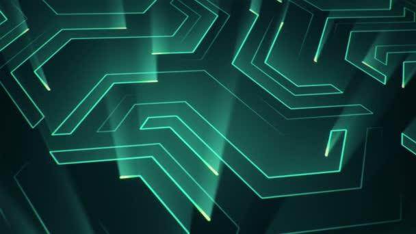 Absztrakt technológiai háttér áramköri elektromos jelrészecskék és türkiz fénycsíkok animációjával. Zökkenőmentes hurkok animációja.