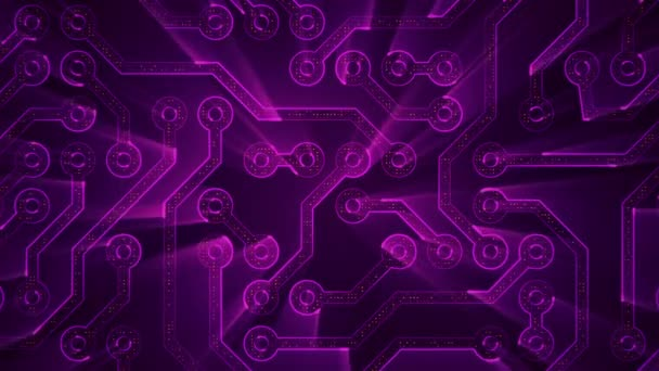Abstract technology background with animation of circuit electric signal particles and purple light stripes. Animation of seamless loop.