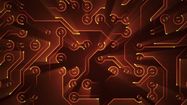 Abstract technology background with animation of circuit electric signal particles and orange light stripes. Animation of seamless loop.