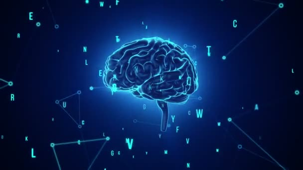 Animation of rotation blue human brain with flying data around on grey background. Animation of seamless loop