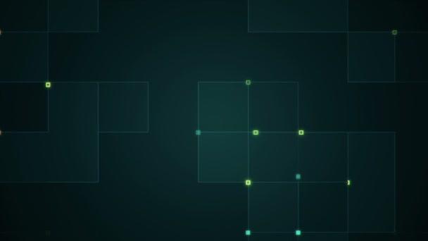 geometriai háttér csíkokkal és részecskékkel. Animáció áramkör elektromos jel türkiz ragyog. Zökkenőmentes hurkok animációja.