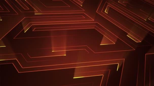 Absztrakt technológiai háttér animációs áramkör elektromos jel részecskék és narancssárga fény csíkok. Zökkenőmentes hurkok animációja.